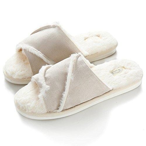 Pantofole Da Donna Inverno Caldo Peluche Rosa Beige Pantofole Morbide Pantofole Di Cotone Coperta Antiscivolo Pantofole Bianche