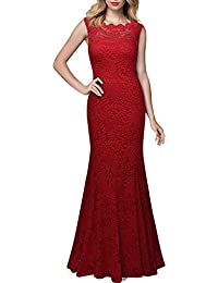 Miusol® Damen Elegant Kleid Abendkleid mit Spitzen Rueckenfrei Ärmellos Langes Fishtail Brautjungfer Cocktailkleid Schwarz / Rot Gr.S-XXL