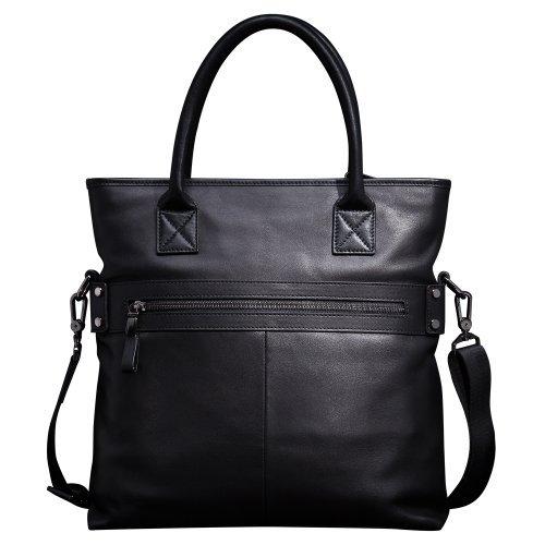 Oneworld Herren Rindleder Messenger Bag Aktentasche Schultertasche Notebooktasche Handtasche Umhängetasche Schultasche Tote Bag 33x34x6.5cm(BxHxT) Khaki Schwarz