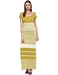 Taurus Women's Cotton Lycra Olive Green Monochromatic Maxi Dress