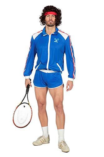 80er Jahre Tennisstar Retro Trainingsanzug Tennisspieler 80`s Wimbledon McEnroe Trash Herren-Kostüm, (Tennis Spieler Kostüm)