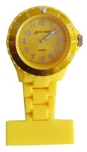 Schwesternuhr Trend Design Silikon Gelb Tiga-Med Schwesternuhren Nadel Kitteluhr Krankenschwesteruhr -