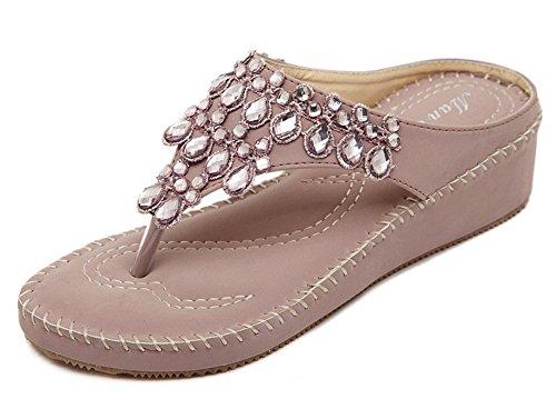 Fortuning's JDS moderni sandali con zeppa glitterati nuove donne di arrivo perizoma infradito Viola
