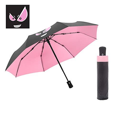YuYa Regenschirm Regenschirm kann umgedreht Werden - Schalter automatisch,Dreifach gefalteter automatischer Regenschirm Kleiner Teufelpuder-Regenschirm-Oberflächenradius 21 Zoll