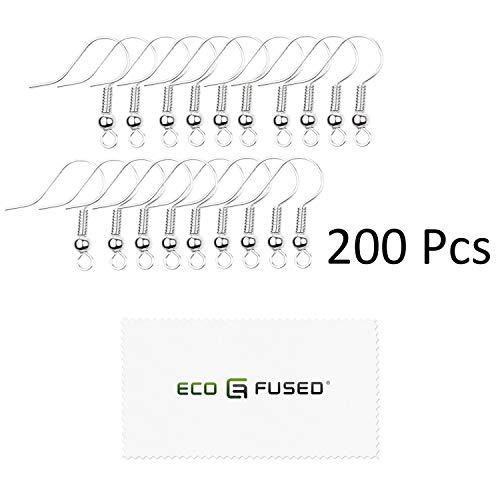 Eco-Fused - 18mm Ohrhaken - 200 STK. - Nickelfreie Ohrhaken im Spulen- und Kugelstil - Versilberter Stahl - ideal für DIY-Ohrringe