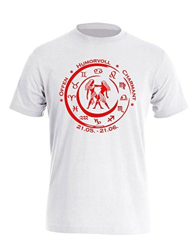 Sternzeichen Zwilling - Astrologie - Herren Rundhals T-Shirt Weiß/Rot