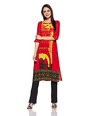 Aurelia Women's Straight Kurta Women's Kurtas & Kurtis at amazon