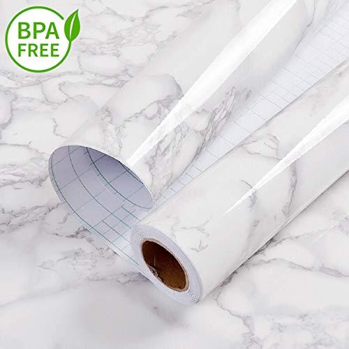 Marmo carta da parati adesiva bianca grigia carta da contatto pellicola impermeabile in vinile adesivi da cucina in pvc bagno durevole scaffale mobili da banco tavolo da muro peel stick 60cm * 2m diy