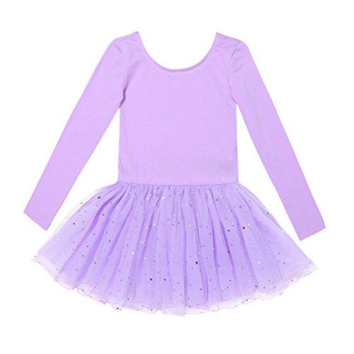 YiZYiF Kinder Mädchen Ballettanzug Langarm Ballettkleid Ballett Trikot Turnanzug mit glänzende Rock Tütü in Rosa Lavendel Himmelblau und Schwarz Lavendel 116 (Schwarz Tutu Rosa Und)
