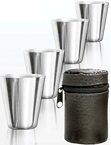 Outdoor Saxx® - 5-Teiliges Edelstahl Trink-Becher Set | GENUSS-Spass-Set, Whiskey Kräuter-Schnaps | Tolles Geschenk, unzerbrechlich, mit Leder Tasche