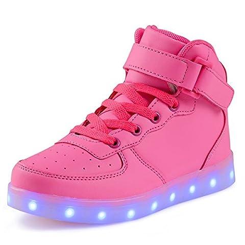 AFFINEST Haut-dessus chargement USB LED chaussures clignotant chaussures de sport