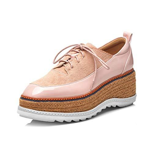 YAN Weibliche Casual-Schuhe 2019 Neue Patent Leder-Loafers Plattform Wedges Cross Lace Up Damen Schuhe Training Schuhe,Pink,37 Pink Patent Plattform
