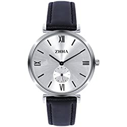 ZHHA Men's S001 Quartz Wrist Black Leather Waterproof Watch with White Dial