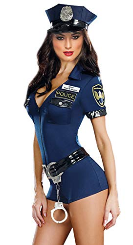 Kostüm Polizistin Damen - Cloud Kids Damen Polizistin Kostüm Halloween Polizei Verkleidung Uniform Karneval Party Outfit (Blau)