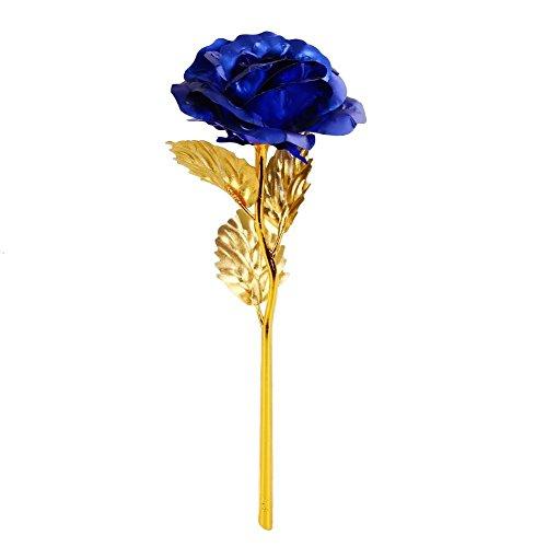 Onerbuy creative 24k oro fiore rosa fiore pieno regalo romantico per voi con box, fatto a mano e l'amore last forever (blu)