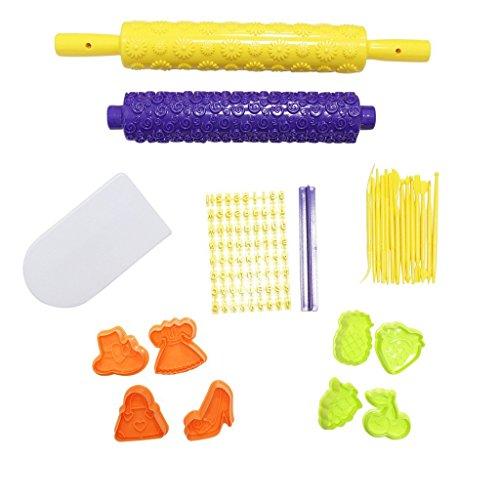 Ultimatives 98 teiliges Set zur Tortenverzierung Backen Zuckerguss mit Ausstechformen, Strukturrollen, Buchstabenpresse von Kurtzy TM