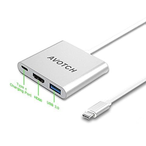 USB-C Digital AV Multi-port Adapter, AVOTCH USB 3.1 Type-C to HDMI Adapter Converter 4K , USB 3.0 HUB With 1 Charging Port , for Apple Macbook, Chromebook Pixel, with Aluminium Case