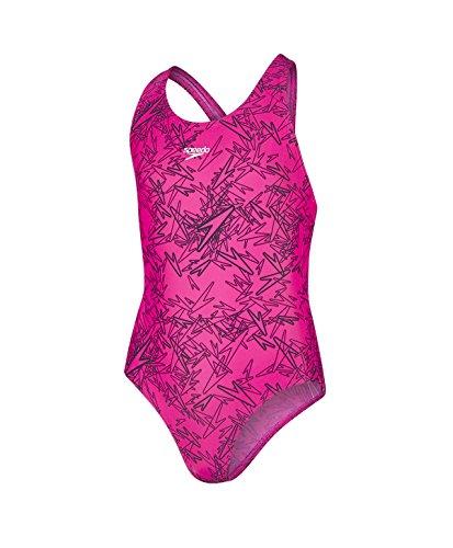 Speedo Mädchen Boom Allover Splashback Badeanzug, Mädchen, Boom Allover Splashback, Electric Pink/Black, 140