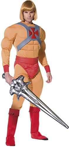 stüm Muskel-Jumpsuit mit Gürtel Armmanschetten Überstiefel und aufblasbares Schwert, Medium (Prinz Kostüm Ideen)
