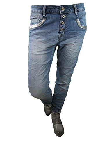 Denim Stretch Baggy-Boyfriend-Jeans boyfriend Pailletten 4 Knöpfe offene Knopfleiste weitere Farben (2XL-44, denim) (4-knopf-strickjacke)