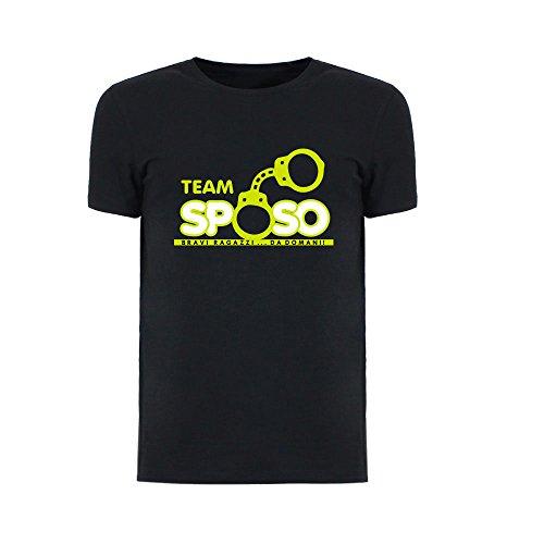 T-shirt uomo maglietta per addii al celibato nera personalizzata team sposo manette - l