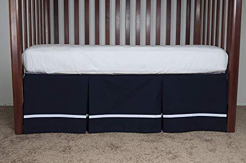 AB Lifestyles Navy Crib Dust Ruffle with White Ribbon Trim...