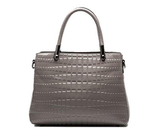 Damen Handtasche mode Leder Umhängetasche frauen Ledertasche Grau