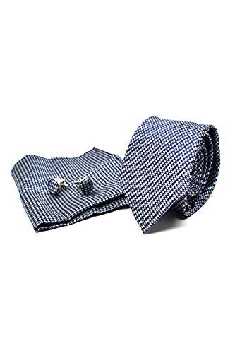 Cravatta da uomo, fazzoletto da taschino e gemelli blu scuro pied de poule - 100% seta - classico, elegante e moderno - (confezione regalo, ideale per un matrimonio, con un abito, in ufficio...)