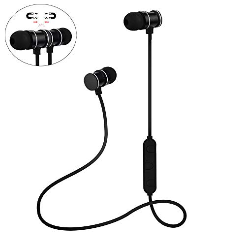Yigatech Bluetooth Kopfhörer In Ear Sport V4.1,CVC 6.0 Lärmminderung Schweißresistent Wireless Stereo magnetischer Headset,mit 10 Meter Reichweite, eingebautes Mikrofon (Schwarz) -