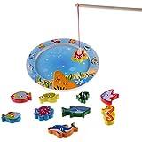 10 de baño Peces educativos de madera magnética juego de pesca, juguetes del regalo de cumpleaños para los 3 4 5 años que los niños del cabrito del niño bebé Imán del muchacho de la muchacha juguete
