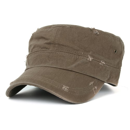 ililily Distressed Cotton Cadet Cap with Adjustable Strap Army Style Hut (Braun Cadet Hut)