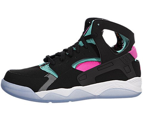 Nike Air Flight Huarache Hi Ginnastica 705005 Scarpe da Tennis (UK 10.5 US 11,5 EU 45,5, Retro Black Light Pink Power Bianco 003) 10.5 UK Retro Black Light Pink Power Bianco 003