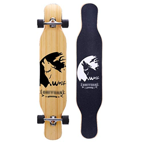 Longboards Skateboards Komplette Skateboards Bambus Ahorn 4 Räder Konkav Deck Double Kick Tails für Anfänger Jungen Mädchen Kinder Jugendliche (Color : E) -