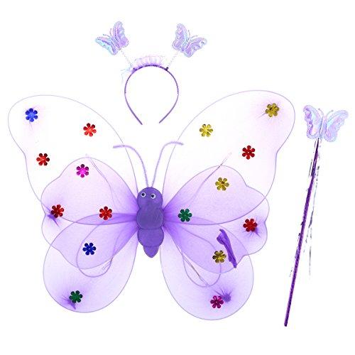 Luoem ali da farfalla led luminose e bacchetta magica cerchietto costume farfalla bambina viola 3 pezzi