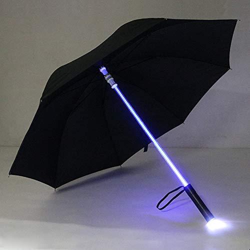 Walmeck- LED-Regenschirm mit lampen für den Nachtschutz-transparent/Black/Rot/Blau