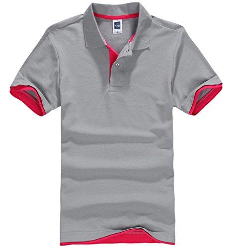 Smile YKK Herren Männer Basis Sommer Kurzes Aermel Poloshirt T-Shirt Hoodie T-Shirt Hemd Grau A