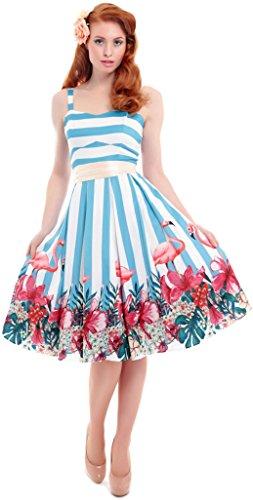 Collectif ANTOINETTE Striped FLAMINGO Classic SWING Dress KLEID Rockabilly Weiß-Himmelblau gestreift mit Flamingos