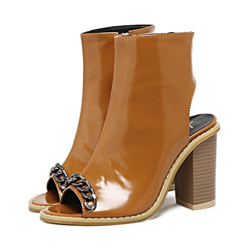 LvYuan-mxx Frauen Sandalen / Frühling Sommer / Mode Kette Fisch Mund Schuhe / Komfort Casual / Office & Karriere Kleid / High Heels / Cool Stiefel BROWN-40