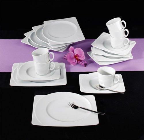 Seltmann Weiden 001.706992 Kaffeeservice - Paso - 18-teilig - eckig - Porzellan - weiß