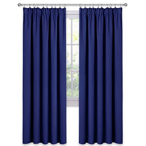 PONY DANCE Blickdichter Vorhang mit Kräuselband - (2 Stücke H 228 x B 228) Licht Blockieren Gardinen für Balkontür/Siebetür Thermo Vorhang Wärmeisolierend Gardine, Blau