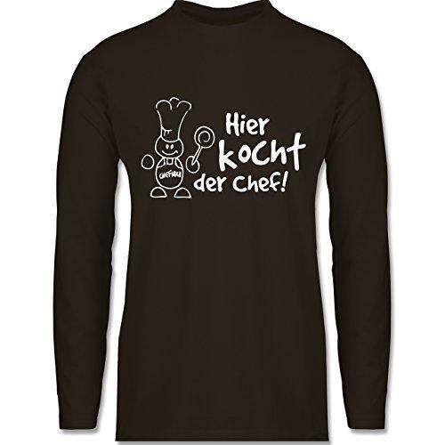 Küche - Hier kocht der Chef - Longsleeve / langärmeliges T-Shirt für Herren Braun