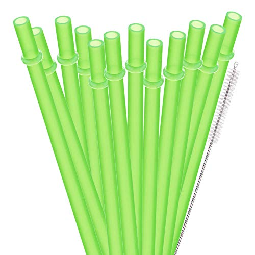 dakoufish BPA frei 12Stück 22,9cm wiederverwendbar Kunststoff Dick Trinkhalme für Mason Jar Yeti Rambler Uni Farbe (yds001-green) (Jars Farbe Mason)