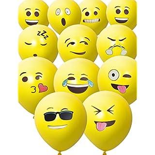 HomeTools.eu® - 33 Stück Smiley Luft-Ballons | lustige freche Emoji Gesichter aufblasbar 30cm | Deko Party Fasching Kinder-Geburtstag | gelb 33er Pack