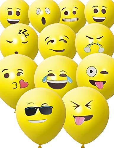 emoji luftballon HomeTools.eu - 33 Stück Smiley Luft-Ballons | lustige Freche Emoji Gesichter aufblasbar 30cm | Deko Party Fasching Kinder-Geburtstag | Gelb 33er Pack