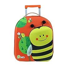 Bayer Chic 2000 Bouncie Kinder-Trolley mit 3D-Bienen-Motiv, Kinder-Reisekoffer, Kindergepäck, orange
