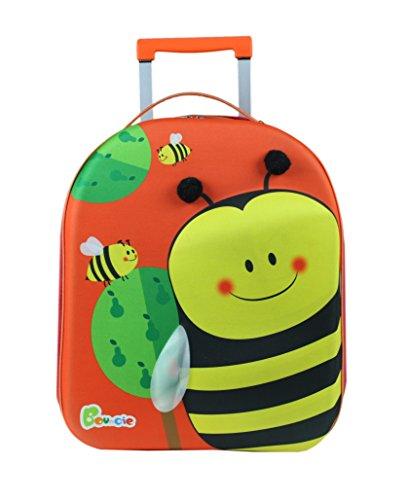 Bayer Chic 2000 Bouncie Kinder-Trolley mit 3D-Bienen-Motiv, Reisetrolleygroß Kindergepäck, 40 cm, 26 L, Orange