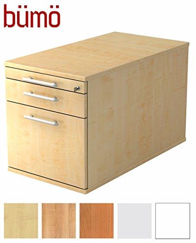 Bümö® Rollcontainer mit 3 Schüben & Schloss | Bürocontainer mit Hängeregistratur aus Holz