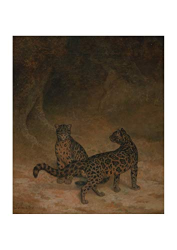 Spiffing Prints Jacques-Laurent Agasse - Clouded Leopards - Large - Archival Matte - Framed Laurent Leopard
