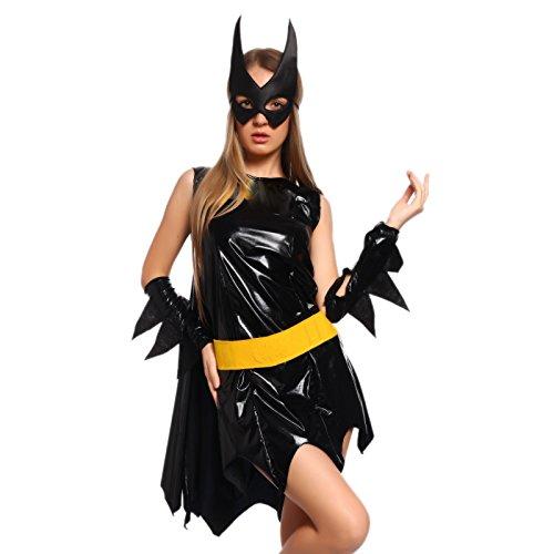 Sexy Damen Halloween Schwarz Kostuem Custume Karneval Fasching Kleid mit Cape Armstulpen Maske Guertel Groesse - Batgirl Kostüm Sexy