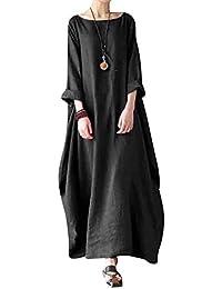 BBYES Women Vintage Loose Striped Long Sleeve Casual Kaftan Boho Maxi Cotton Linen Dresses S-5XL